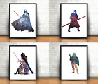 Star Wars Inspired Art Prints Set Of 4 Darth Vader Darth Maul Kylo Ren Boba Fett £6.99 GBP