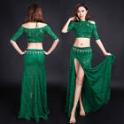 New Women 2017 Lace Belly Dance Costumes 2pics Off Shoulder top&long Skirt  M L