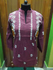 "S 39"" DRESS ETHNIC KURTI 100% COTTON CHIKAN EMBROIDERY KURTA HANDMADE TUNIC TOP"