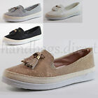 New Womens Flat Casual Espadrilles Slip On Sneakers Tassel Glitter Summer Shoes
