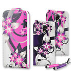 Flower Printed Leather Wallet Case Flip Cover for Samsung S4 Mini + Mini Stylus