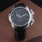 Stainless Steel V6 Fashion Men's Analog Quartz Leather Wrist Watch Sport Black