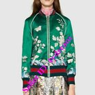 Womens Floral Premium Embroidered Baseball Bomber Jacket Overcoat Outerwear Red