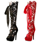 GEE Women High Heels Knee Boot Platform Sandal Strappy Hollow Out Shoes Peep Toe