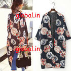 Vintage WOMAN PRINTED KIMONO JACKET FLOWING SIDE SLITS NAVY BLUE BLOGGERS FAV.