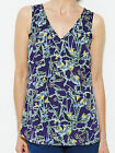 Ladies New ex LabelBe Navy Printed Vest Style Top 10 12 14 16 18 20 22