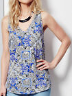 Ladies New ex LabelBe Blue Printed Vest Style Top 12 14 16 18 20 24