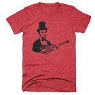 Abraham Lincoln Playing Guitar Funny Tees President Shirts Music Soft Tri Blend