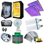 Hydroponics Setup LED 225 130w CFL Grow Light 2700k 6400k Ventilation Clip Fan