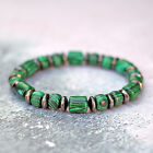 Green Malachite Bracelet With Hematite Spacers Natural Grade A Gemstone