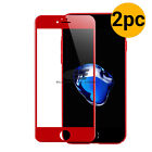 2pc 9H Hard Full Cover Tempered Glass Screen Protector For iPhone 7 plus RED