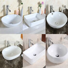 Oval/Round Bowl Top/Square Basin Sink Bathroom Countertop Cloakroom Ceramic UK