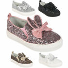 KIDS CHILDRENS GIRLS GLITTER FLAT SKATER PUMPS TRAINERS SLIP ON PLIMSOLLS SHOES