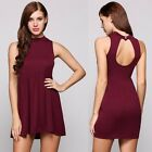 Sexy Party Dress Backless Stand Collar Sleeveless Solid Mini Casual Summer Dress