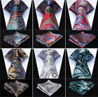 "Paisley 3.4"" Silk Fashion Mens Extra Long Tie XL Necktie Pocket Square Set #C0 $10.86 CAD on eBay"