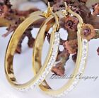 1.7~6.2''CM 18K Gold Plated Stainless Steel Rhinestone Lady Women Ring Earring