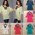 Lady Women Girls Nail bead Embroidery Loose T-Shirt Tops Casual Blouse Clothes