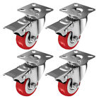 Внешний вид - 4 Pack Caster Wheels Swivel Plate On Red Polyurethane Wheels