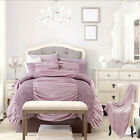 Sicily Ruched Duvet Cover Set With Pillow Cases Luxury Bed Linen Quilt Set Lilac