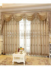 """Embroidered 120"""" x 100"""" Extra wide Waterfall and Swag Valance Faux Silk Curtains"""
