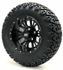 """12"""" DIESEL Matte Black Wheels and X-Trail Tires + GTW Quality Golf Cart Lift Kit"""