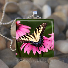 BUTTERFLY SPRING SUMMER GARDEN PINK FLOWER GLASS PENDANT NECKLACE KEYRING