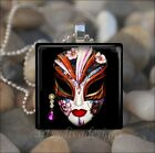 """FLOWER JEWEL MASK"" FLORAL MARDI GRAS DRAMA THEATER MASK GLASS PENDANT NECKLACE"