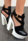 TIGGY High Chunky Heel Cut Out Buckle Ankle Boots Shoes In Black