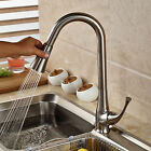 Pull Out Sprayer Kitchen Faucet Swivel Spout Single Hole Deck Mount Mixer Tap