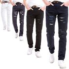Grunge Denim Jeans - Torn Ripped and Worn Style Skinny Legged Trousers
