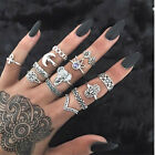 Set 13pcs Boho Elephant Fatima Finger Knuckle Ring Band Midi Rings Stacking Ring