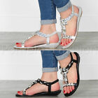 WOMENS LADIES LOW WEDGE JEWEL DIAMANTE GEM T-BAR HOLIDAY EVENING SANDALS SIZE