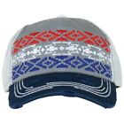 Catchfly Women's Red White Blue Gray Aztec Trucker Cap 1777HBG