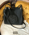 Authentic Gucci  Soho Hobo black Leather shoulder Crossbody Tote in Black