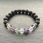 Fluorite Gemstone Bracelet With Lava Rock Stretch Fit High Quality Stone UK Made