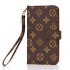 Luxury famous flip grid leather bag wallet case cover for i phone samsung LV68
