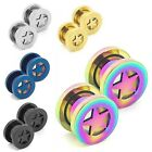2 pieces or 2 Sets Flesh Tunnel Plug Ear Expander Stainless Steel Piercing Star