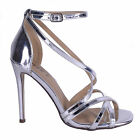 Womens Silver  Party Sandal Strappy Barely There High Heel Stiletto Shoe Size
