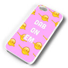 PINK DAB ON EM EMOJIS RUBBER PHONE CASE COVER FITS IPHONE 4 5 6 7 (#WR)