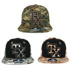 Digital Camo Printed 3-D Embroidered Texas Snapback Cap with Metal Eyelets