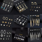 Lots Fashion Women Huggie Hoops Ear Stud Crystal Pearl Earrings Set  17Styles