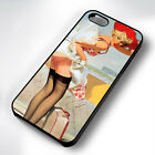 VINTAGE TRAVEL PIN UP GIRL RUBBER PHONE CASE COVER FITS IPHONE 4 5 6 7 (#BR)