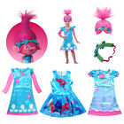 Trolls Poppy Kid's Clothing&Accessories Cosplay Princess Dress &Wig Costume Lot