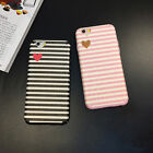 Luxury Heart Stripe Soft TPU Thin Phone Back Case Cover For iPhone 6 6s 7 Plus