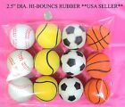 LOT OF 4 OR 12-2.5INCH DIAMETER MIXED STYLE HI- BOUNCING RUBBER SPORTS BALLS