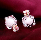Cute Elegant Candy Double Sided Round Pearl Earings Square Ball Ear Studs CA MG