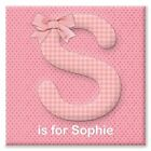 Personalised Initial Name Pink Canvas Print. Christening/Birthday Gift. Girl.