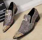 Shiny Mens Dress Formal Colorful Sequins Metal Pointed Toe Rhinestone Shoes Pump