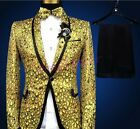 Glitter Mens Chic Sequins Slim Fit Coat Wedding Bar Formal Dress Blazers Jackets