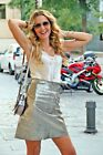 $99.99 NWT ZARA METALLIC SILVER 100% LEATHER SKIRT HIGH RISE 7418/241 XS, S, M